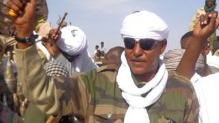 Musa Hilal saluting followers upon his arrival in Nyala, capital of South Darfur state. 7 Dec 2013