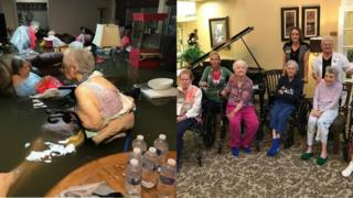 Nursing home residents in floodwater and then dry in new home
