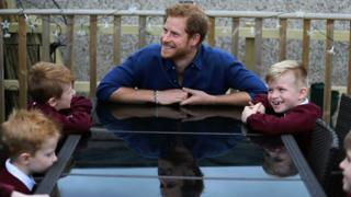 "Prince Harry during a visit to Oliver Rooney""s home in Bramley"