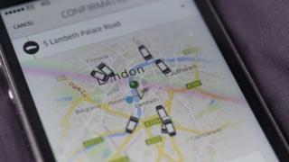 Pantalla que muestra la aplicación de Uber