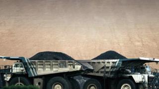 Coal trucks in Australia