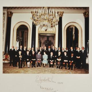 An official colour photograph of the Queen and Prince Charles with members of the Privy Council after a meeting at Buckingham Palace on 27 March 1981