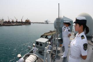 Picture of Chinese naval personnel in Djibouti in 2015