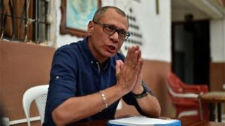 Ecuadorean Vice President Jorge Glas speaks during an exclusive interview with the AFP from the prison where he is kept in pre-trial detention, in Quito on October 13, 2017.