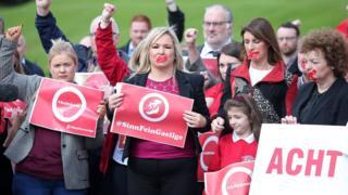 Sinn Féin's Michelle O'Neill and Irish language activists at a protest