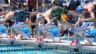 Three swimmer, with Dana Vollmer centre - 13 April 2017