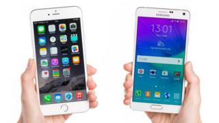 Teléfonos de Apple (iPhone) y Samsung