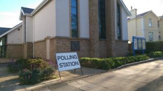 Polling station sign outside Salem Baptist Church, Cheltenham