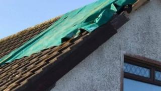 Damage to the roof of the house between Crossgar and Ballynahinch
