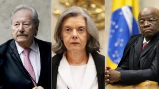 Ministros Ricardo Lewandowski e Cármen Lúcia e ex-ministro Joaquim Barbosa