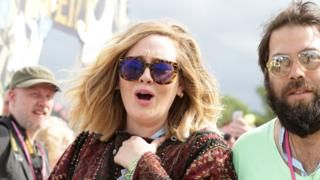 Adele with her partner Simon Konecki at Glastonbury 2015