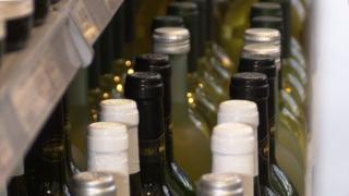 Wine bottles for sale in a shop
