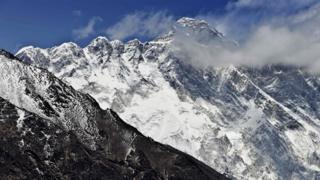 Mount Everest rising up in the background