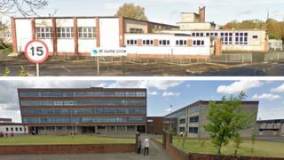 Cumnock Academy (top) and Auchinleck Academy