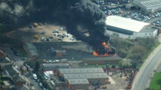 Andrew Tyrrell, an Ordnance Survey worker, captured aerial images of the fire at the substation on Ravensbridge Drive in Leicester