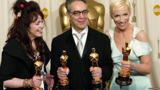 Fran Walsh, Howard Shore and Annie Lennox, winners of Best Original Song for Into the West for the movie Lord of the Rings: The Return of the King