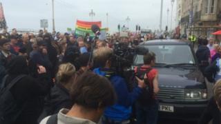 Brighton seafront confrontation