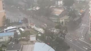 资料图片:台风天鸽吹袭澳门