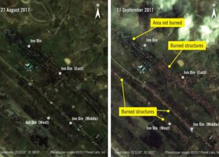 Satellite images of settlements in Rakhine state