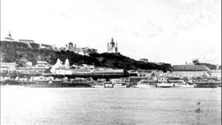 Вид на Поштову з Труханового острова, кінець ХІХ століття