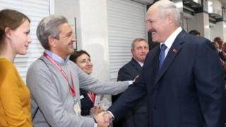 Belarusian President Alexander Lukashenko meeting election observers in Minsk, 11 Oct 15