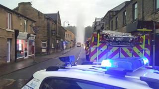 Burst water main in Slaithwaite