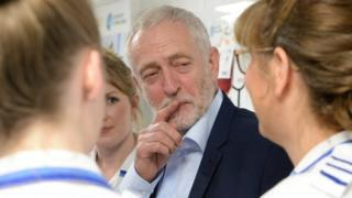 Jeremy Corbyn with nursing students in Worcester