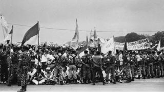 Demo mahasiswa di Istana Bogor, setelah upaya kudeta 1965 yang gagal.
