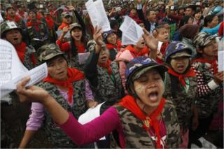 Female members of community based anti-narcotic campaigners known as The Pat Jasan members sing during a prayer meeting in Wai Maw, northern Kachin State, Myanmar, Sunday 21 Feb 2016