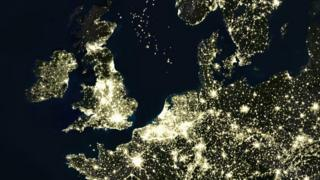 A satellite image of Europe at night