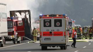 Bus crash scene on A9 near Hof (3 July)