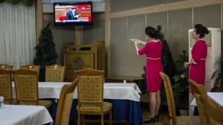 Kim Jong-Un on TV in North Korea restaurant
