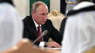 Russian President Vladimir Putin attends a meeting with Saudi King Salman bin Abdulaziz Al Saud (not pictured) in the Kremlin, Moscow, Russia, 5 October 2017