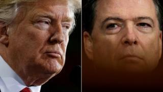 Madaxweyne Donald Trump iyo Agaasimihii hore ee FBI-da James Comey