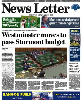 Front page of the News Letter, Tuesday 14 November 2017