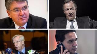 Ministros de Hacienda de América Latina: Mauricio Cárdenas en Colombia, José Antonio Meade en México, Mario Guillén (ministro encargado de Economía) en Bolivia y Danilo Astori en Uruguay