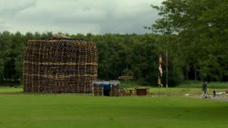 The loyalist bonfire at Inverary playing fields is one of four sites affected by a High Court injunction banning any more material being added to the pile