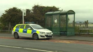 The bus stop in Towyn where the baby was found