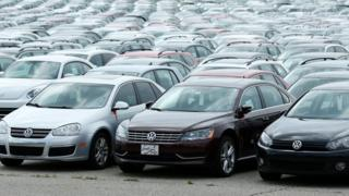 Diesel Volkswagen and Audi vehicles that VW bought back from consumers sit in the parking lot of the Pontiac Silverdome on August 4, 2017 in Pontiac, Michigan.