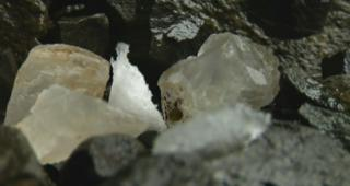 A close up of large crystals in the mine