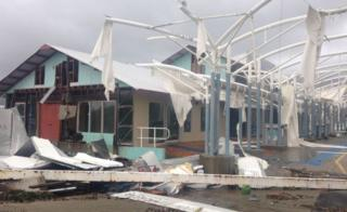 A marina near Airlie Beach in Queensland was badly damaged