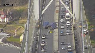 Lorry overturned on Forth Road Bridge