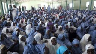 students of Dapchi secondary school sidon for ground inside hall