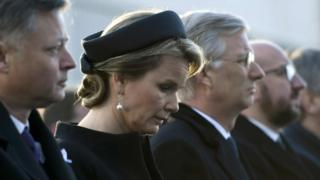 Belgium's King Philippe and Queen Mathilde attend a ceremony at Brussels Zaventem airport