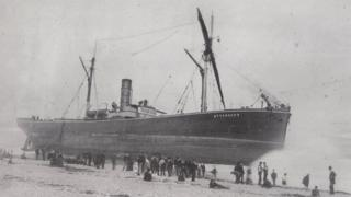 SS Ottercaps beached close to Sunderland's South Pier