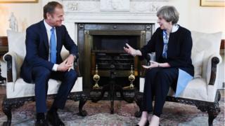 Donald Tusk and Theresa May in talks at Downing Street