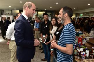 Prince William meeting people at Grenfell relief centre