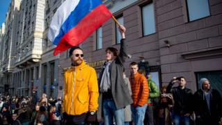 Протестующие на Пушкинской площади 26 марта 2017 года