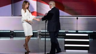 Melania Trump and Donald Trump at the Republican National Convention