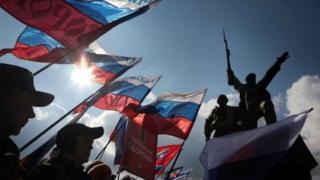 """Третю річницю """"входження до складу Росії"""" у Криму відсвяткували демонстраціями"""